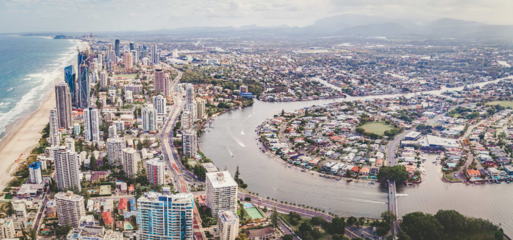 Aerial panorama of Gold Coast city and Nerang river in Queensland, Australia