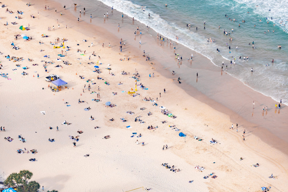 Aerial view of people on the beach