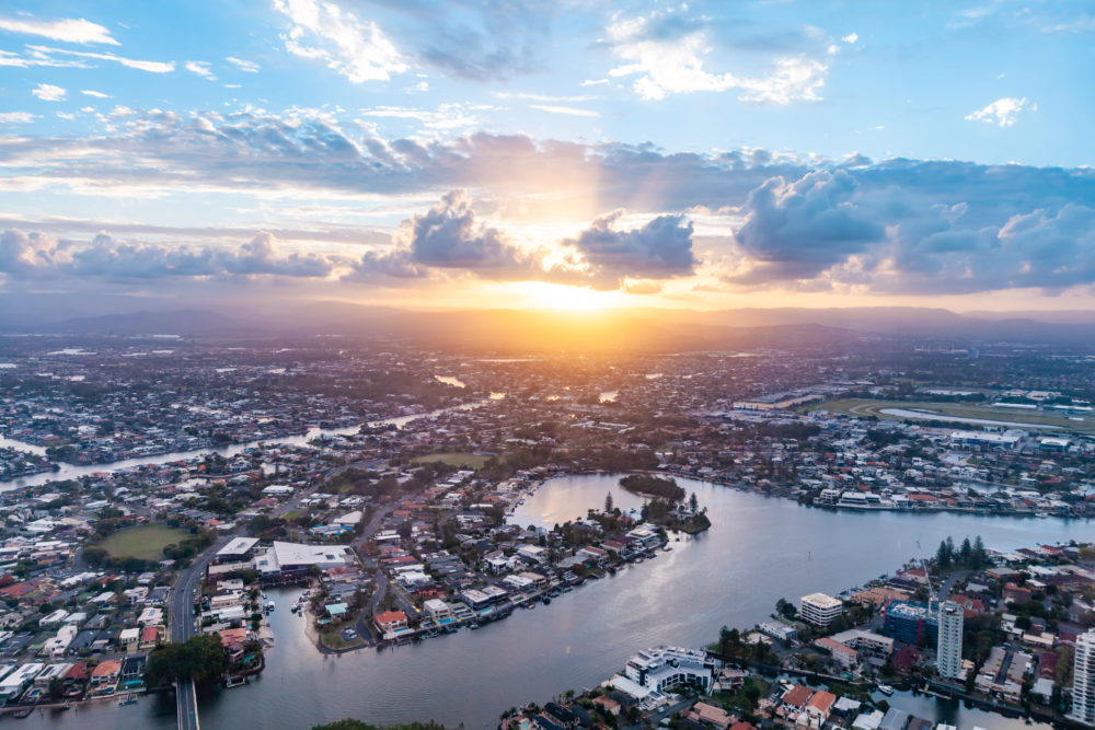 Gold Coast and Nerang river at sunset - aerial view