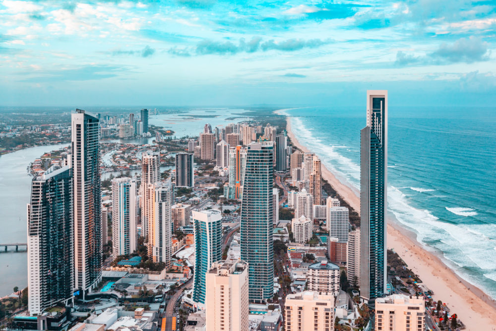 Aerial landscape of Gold Coast city at sunset