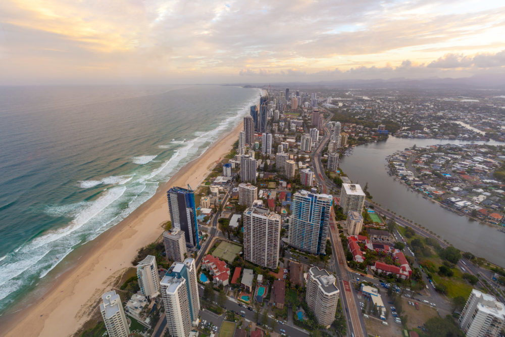 Aerial view of Gold Coast skyline at sunset