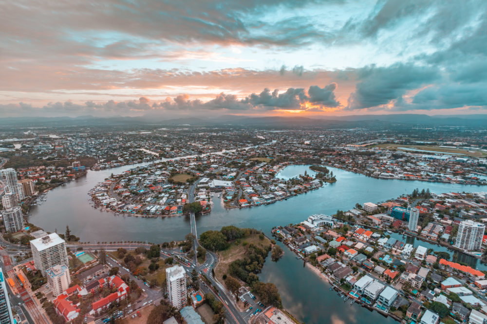 Gold Coast residential area and Nerang River at sunset