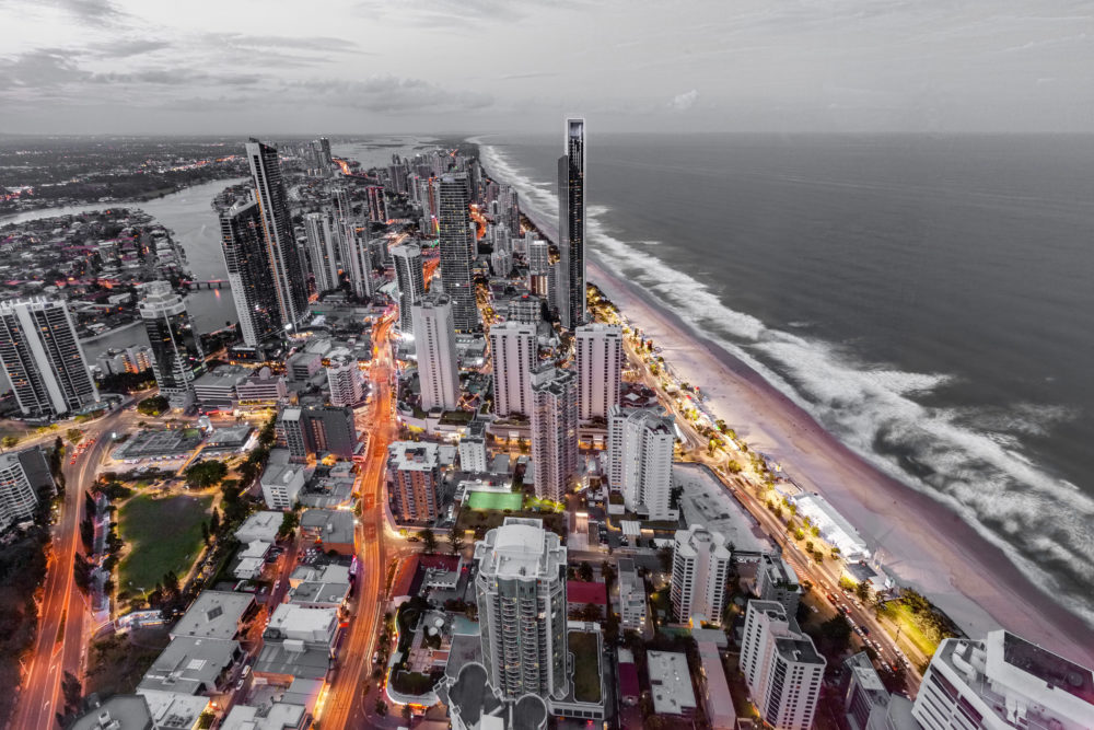 Surfers Paradise skyline at dusk. Gold Coast, Queensland, Australia