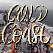 Glold Coast hand lettering over Surfers Paradise skyline landscape at dusk in Queensland, Australia