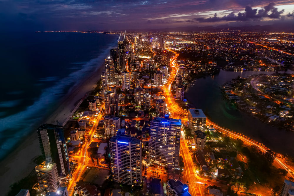 Aerial view of Gold Coast high rise at night. Queensland, Australia