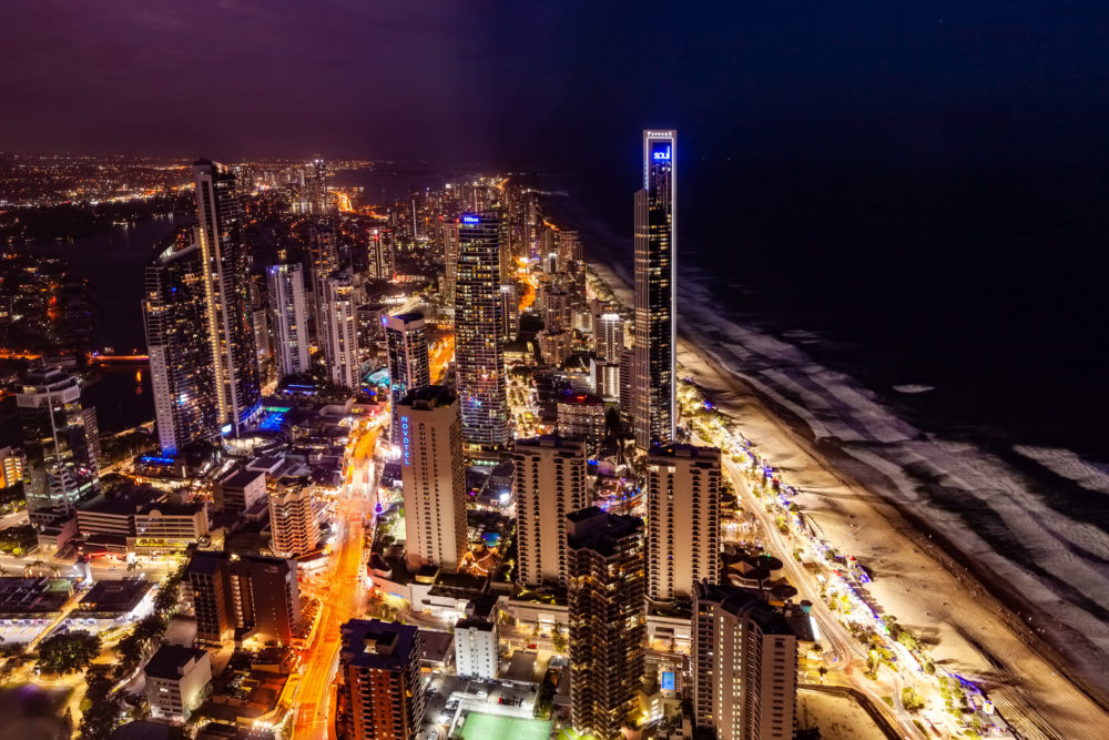 Gold Coast, Australia - January 6, 2019: Surfers Paradise city skyline at night
