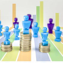 Male and female figurines standing on top of coin piles with other figurines in the background and bar graph. Wage gap and corporate structure concept.