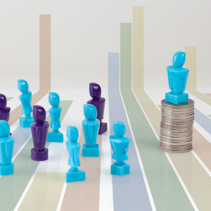 Leadership and corporate structure concept portrayed with male and female figurines and coins and bar graph as background