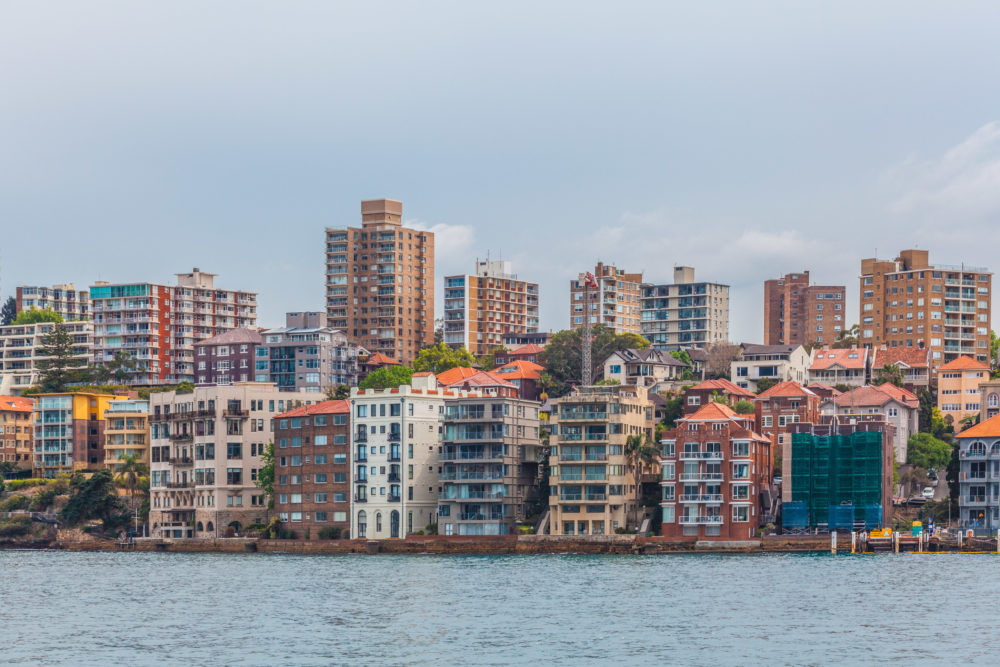 Residential houses on the edge of Sydney Harbour, Australia