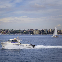 Divers Police boat sailing across Sydney Harbour