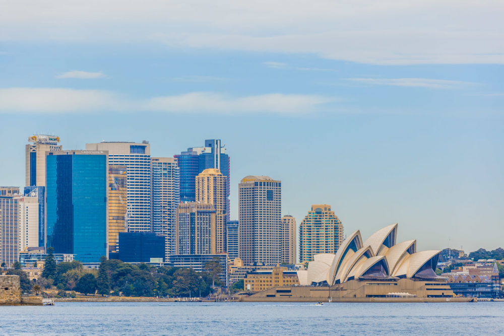 Skyline of Sydney central business district and Opera House viewed from the Sydney Harbour