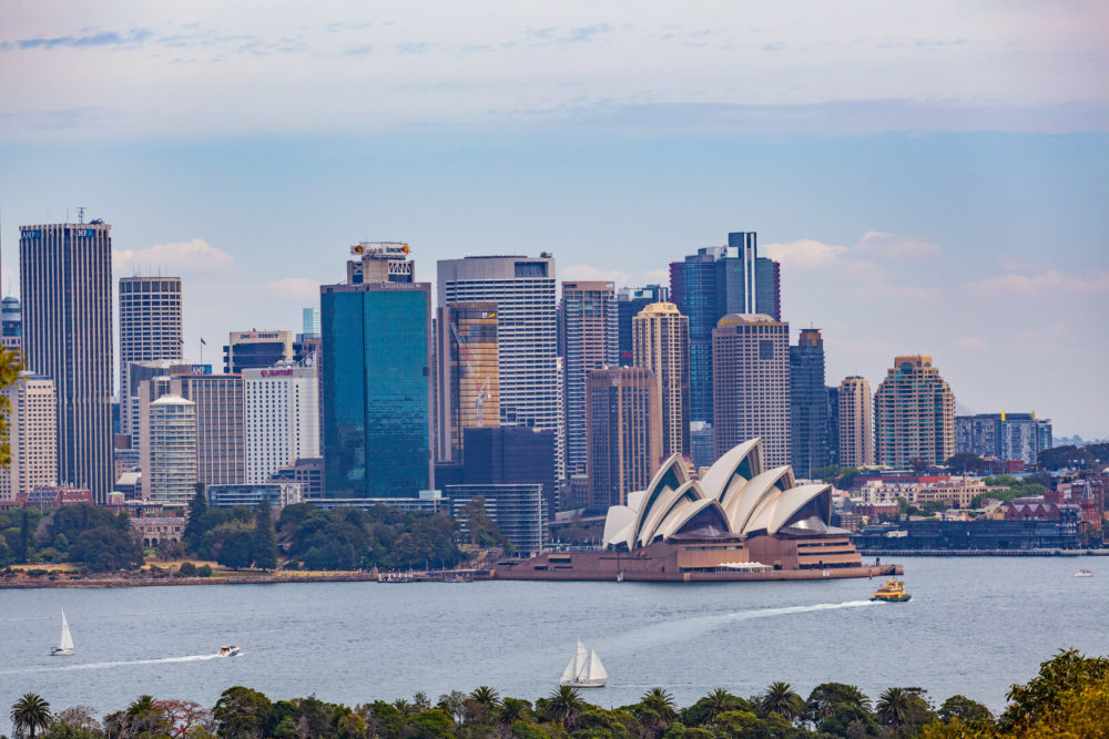 Sydney CBD skyline with Opera House viewved from the harbour