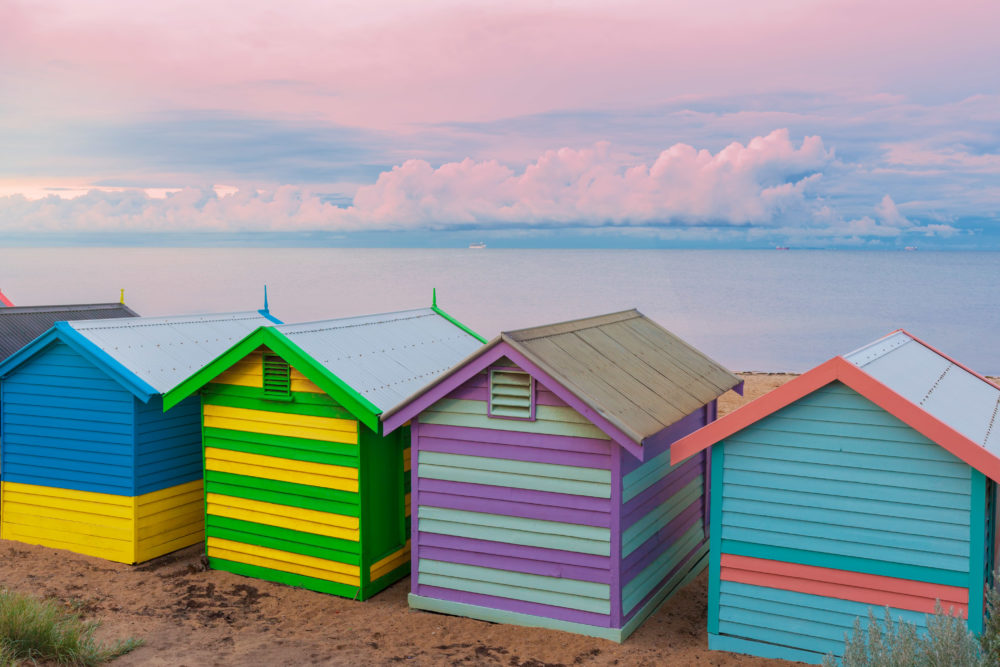 Colorful Brighton small bathing houses at sunrise, Melbourne, Victoria, Australia