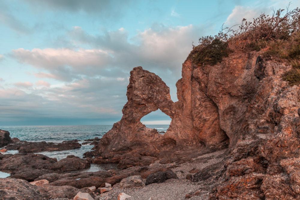 Australia Rock at Narooma, NSW, Australia at sunset