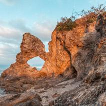 Australia Rock at Narooma, NSW, Australia glowing in orange sunset