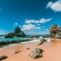Rugged eroding rocks on ocean coastline. NSW, Australia