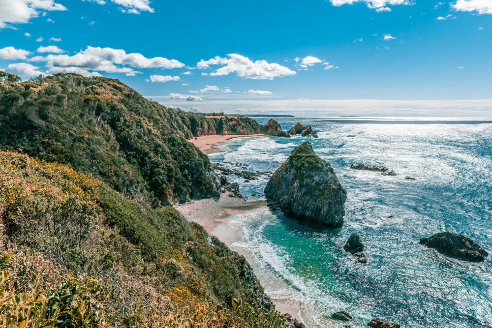 Ocean coastline on bright sunny day in NSW Australia