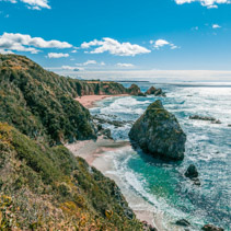 Ocean coastline on bright sunny day in NSW Australia