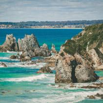 Horse Head rock formation on ocean shore in NSW, Australia
