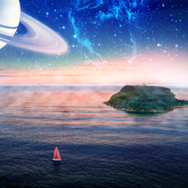Alien landscape of boat with red sail sailing near a small island with planet and galaxy in the sky. Elements of this image furnished by NASA