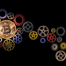 Glowing golden bitcoin and path of colorful cog wheels on black background with copy space