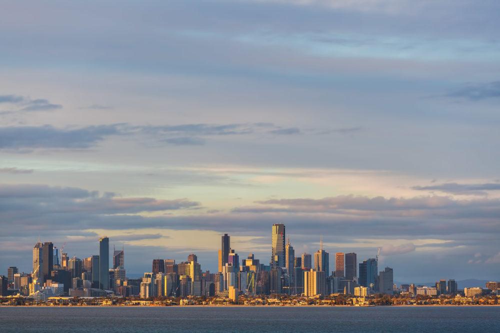 Melbourne CBD skyline at sunset
