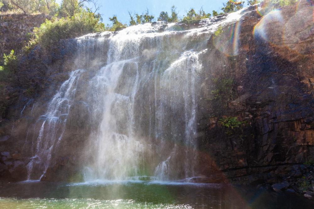 Water spray and mist of Mackenzie falls in Grampians National Park, Australia
