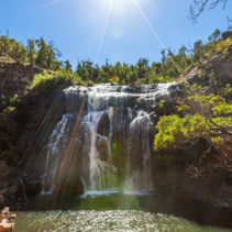 Bright sun above Mackenzie Falls