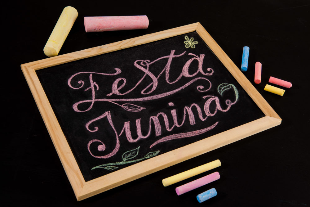 Festa Junina - colorful hand drawn chalk lettering