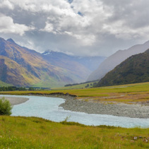 Mount Aspiring National Park, Matukituki River and beautiful hills