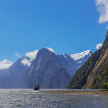 Majestic peaks of Milford Sound with two tourists ships, Fiordland, New Zealand