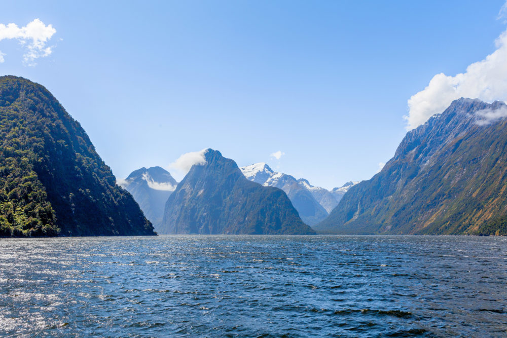 Majestic snow capped peaks of Milford Sound, Fiordland, New Zealand.