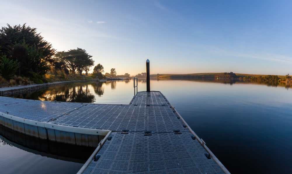 Small pier on Hopkins River at sunrise