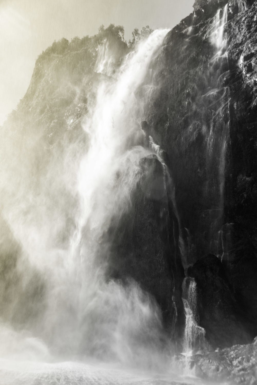 Majestic falls in Fiordland, New Zealand