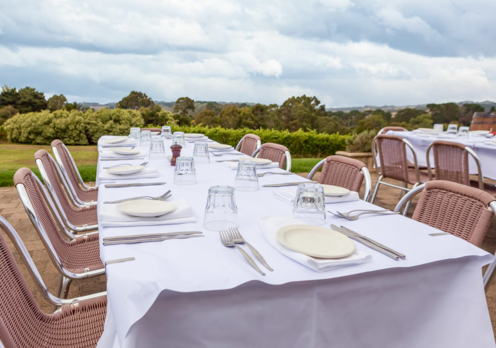 Outdoor table setting in a wineyard