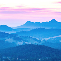 Yarra Ranges National Park at sunset. View from Keppel Lookout.