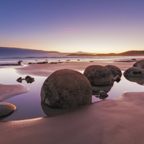 Famous Moeraki Boulders at sunrise, Koekohe beach,Otago, South Island, New Zealand