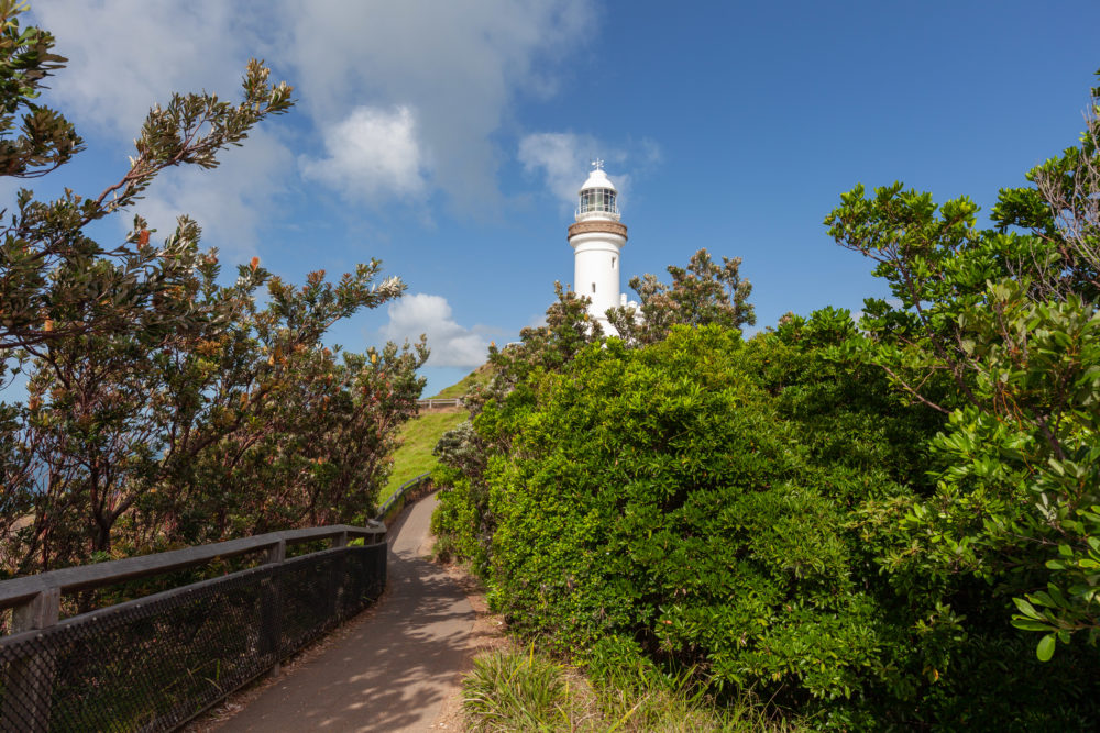 Cape Byron Lighthouse and walkling trail in Byron Bay, NSW, Australia