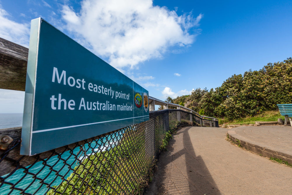 Most easterly point of the Australian Mainland. Byron Bay, New South Wales, Australia