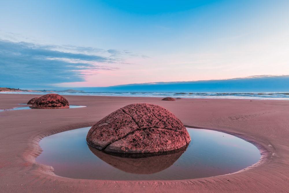 Moeraki Boulder closeup at sunrise, Koekohe beach,Otago, South Island, New Zealand