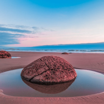 Moeraki Boulder closeup at sunrise, Koekohe beach,Otago, South Island, New Zealand