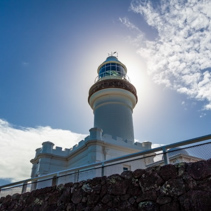 Byron Bay Lighthouse on bright sunny day. New South Wales, Australia.