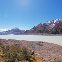 Hooker glacial lake at Mount Cook National Park, Canterbury, New Zealand