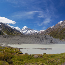 Hooker Glacial Lake panorama with Mount Cook in the distance, Canterbury, New Zealand