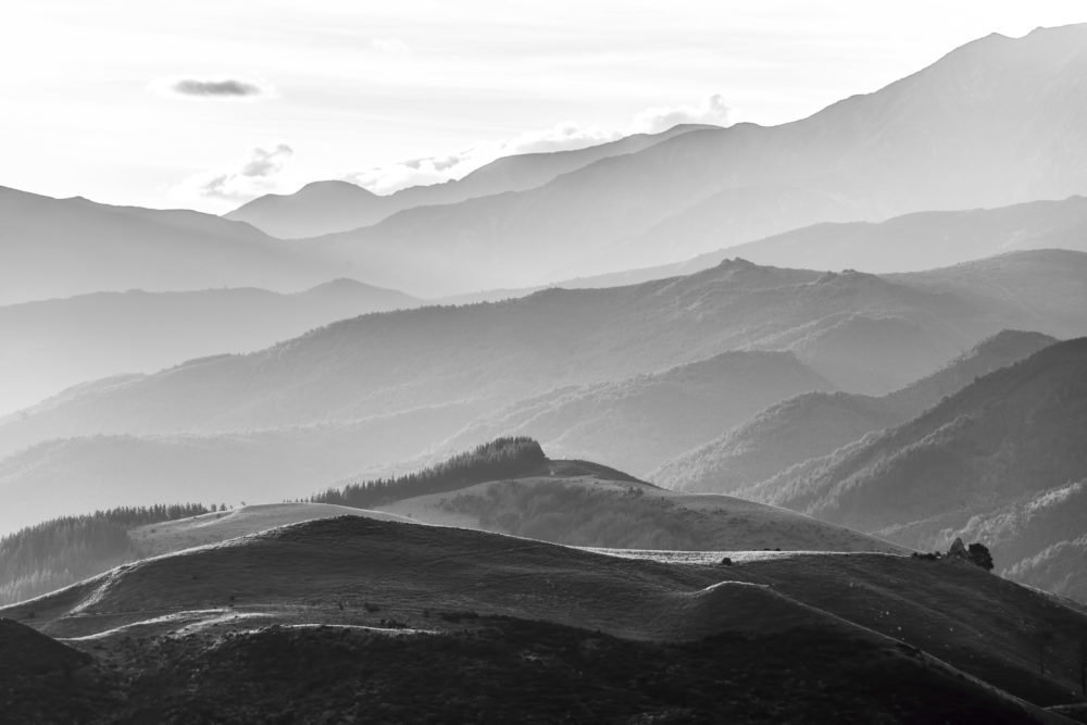 Hills of Canterbury near Hanmer Springs in black and white, South Island, New Zealand