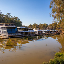 Houseboats for rent moored at old pier on Murray River