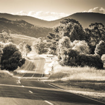 Black and white landscape of rural road in Australia