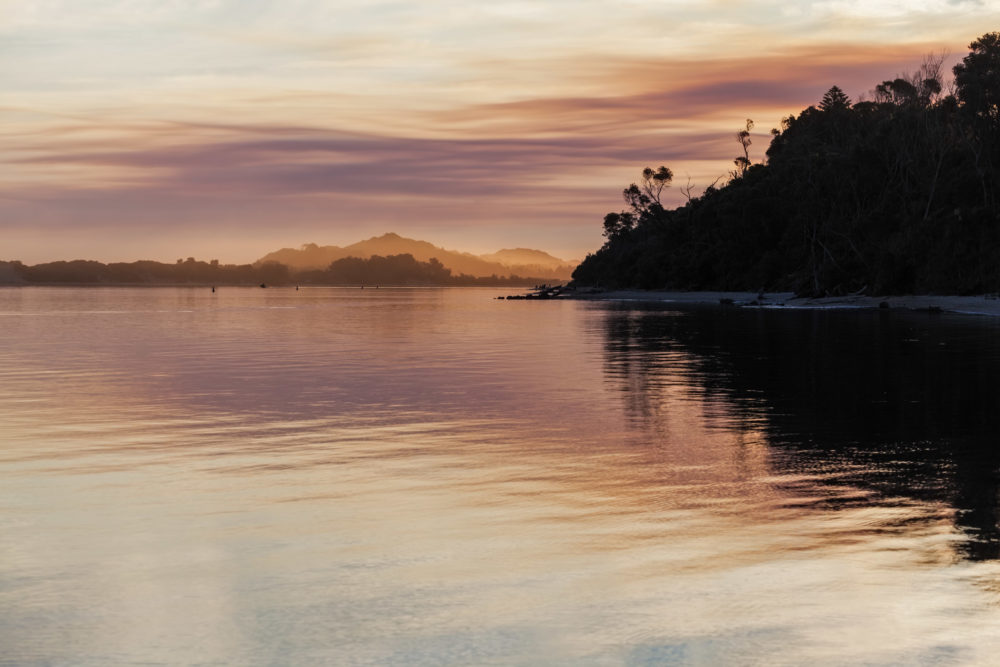 Magnificent vivid sunset, Snowy River Estuary, Marlo, Victoria, Australia.