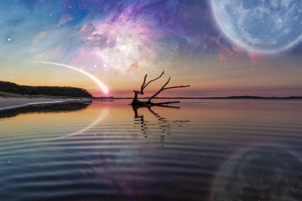 Fantasy landscape with driftwood reflecting in the water, huge planet in the sky, galaxy and comet. Elements of this image are furnished by NASA