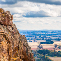 Hanging Rock and countryside in Macedon Ranges.